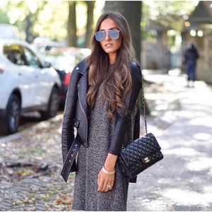 Dresses & Skirts - Pepper color with leather sleeves modest dress
